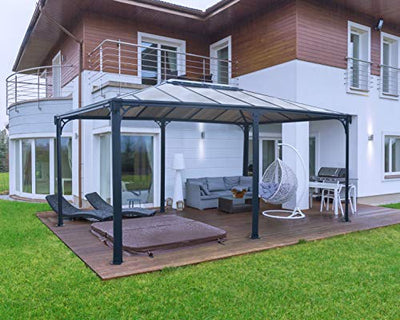Palram HG9171 Martinique Hard Top Gazebo, 12' x 16', Gray/Bronze