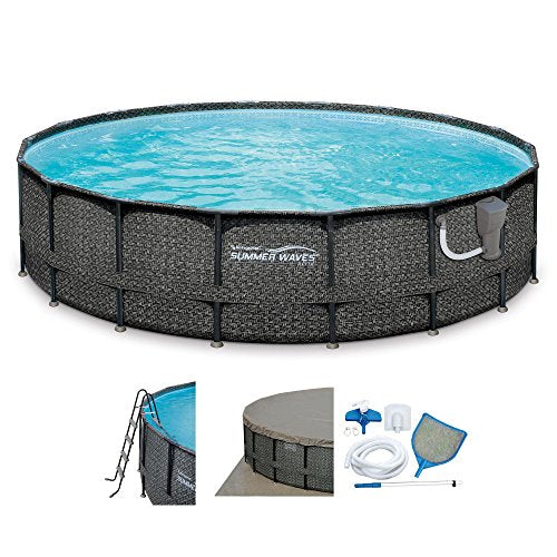 Summer Waves 20ft x 48in Elite Wicker Print Above Ground Frame Pool Set w/Pump