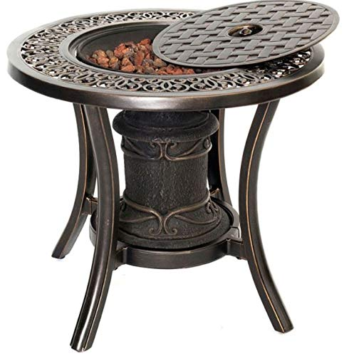 Jar Outdoor- Dark Bronze Aluminum Round Side Table-Firepit Table for Outside-Portable Propane Fire Pit-Cozy Fire Ambiance for Nights Spent at Your Patio