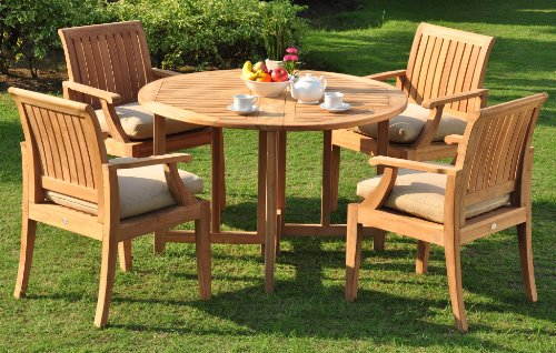 "WholesaleTeakFurniture Grade-A Teak Wood 4 Seater 5 Pc Grade-A Teak Wood Dining Set: 48"" Round Butterfly Table and 4 Lagos Arm/Captain Chairs #WFDSLG1"