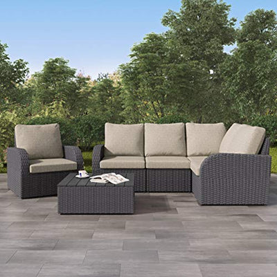CorLiving PCL-210-Z1 Brisbane Patio Conversation Set, Distressed Charcoal Mushroom Grey