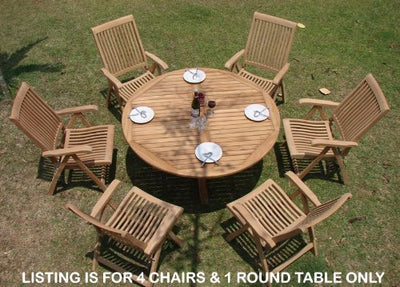 "WholesaleTeakFurniture Grade-A Teak Wood 4 Seater 5 Pc Dining Set: 60"" Round Table and 4 Marley Reclining Arm Chairs #WFDSMR3"