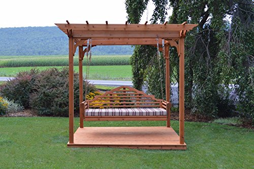"A&L Furniture Co. 6' x 8' Amish-Made Cedar Pergola with Deck and 75"" Marlboro Swing Bed, Oak"