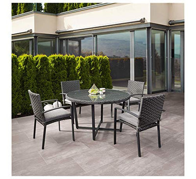 Wood & Style Furniture Parkview Patio Conversation Set Distressed Charcoal Grey Home Office Commerial Heavy Duty Strong Décor