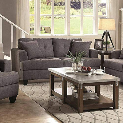 A Line Furniture Frankfurt Modern Tufted Design Grey Living Room Sofa Collection Charcoal/1 Sofa, 1 Loveseat, 1 Chair