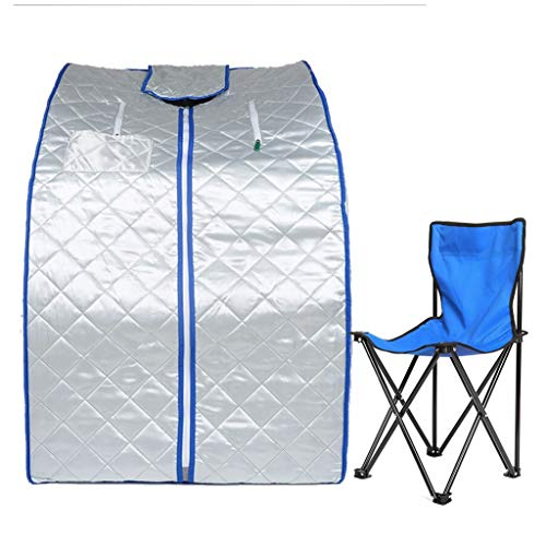 ZFF Portable Far Infrared Steam Sauna Tent with Chair and Heating Plate, Home Personal Spa for Reduce Stress and Fatigue, Lose Weight (Color : A-Fireproof Cloth)