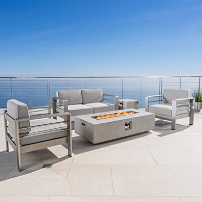 Christopher Knight Home Cybele Doris Outdoor 4 Seater Chat Set with Fire Pit, Cast Silver Sunbrella, Silver, and Light Gray