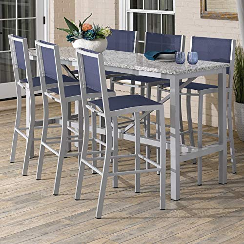 Oxford Garden Travira 7-Piece 72-in x 30-in Lite-Core Ash Bar Table & Sling Bar Chair Set - Ink Sling