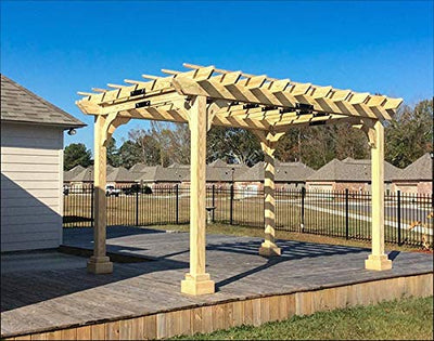 Fifthroom Markets Garden Pergola 10 Foot by 10 Foot - Durable Outdoor Treated Pine Furniture Backyard, Exterior Structures, Home and Garden