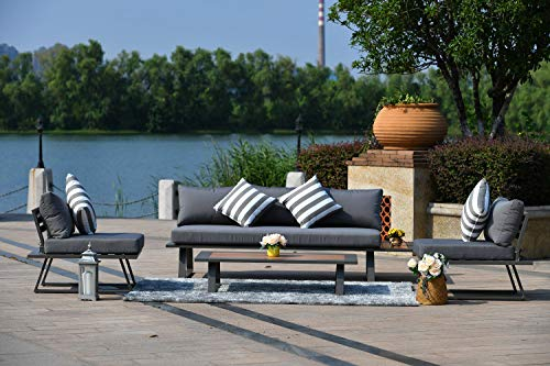 Direct Wicker 4 Pieces Aluminum Frame Sectional Patio Chat Set with Cushions
