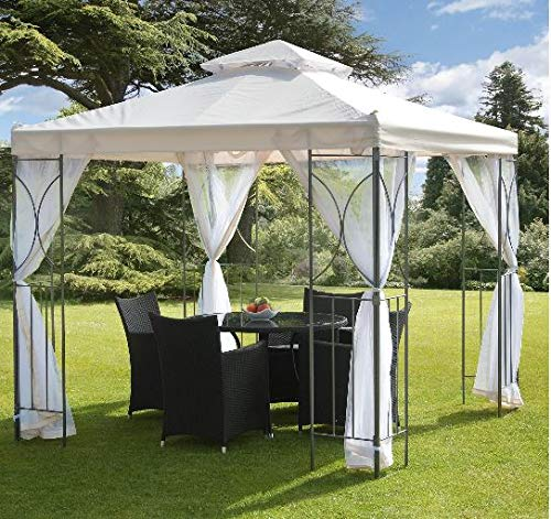 Jjoy- Screened in Gazebo-Gazebo with Mosquito Netting-Additional Shade for Your Outdoor Events-Color Cream Polyester Steel Frame 98 Inch Width