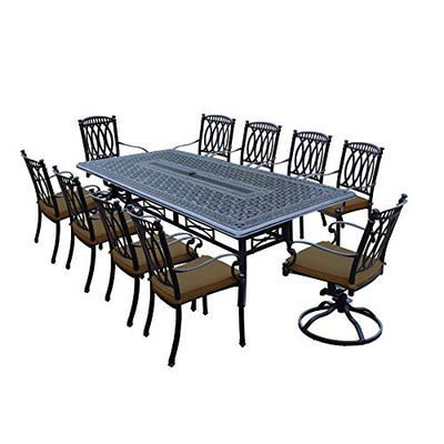 Oakland Living Milan 11 Piece Dining Set with 102x46-inch Table, 8 Chairs and 2 Swivel Rockers Both Stackable with Sunbrella Cushions