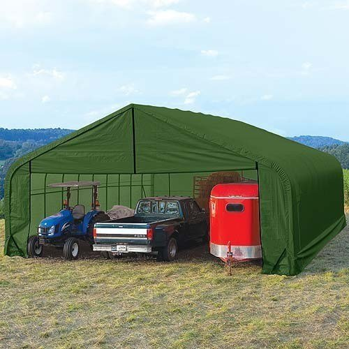 ShelterLogic Peak Style Double Wide Garage/Storage Shelter - Green, 28ft.L x 22ft.W x 11ft.H, 2.375in. Frame, Model Number 78741