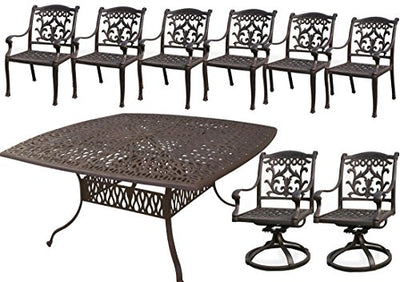 Cast Aluminum Furniture 9pc Outdoor Patio Set 64 X 64 Square Table Flamingo 2 Swivels 6 Dining Chairs