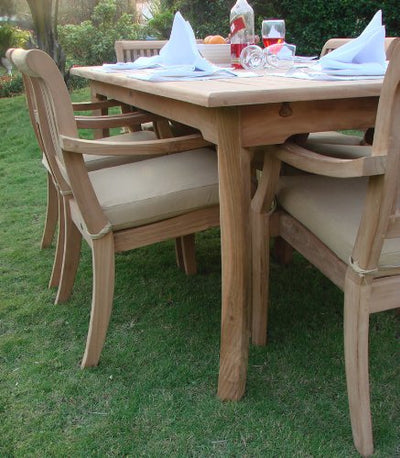"Grade-A Teak Wood Luxurious Dining Set Collections: 13 Pc -Large 117"" Rectangle Table and 12 Arbor Stacking Arm Chairs #TSDSABd"