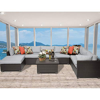 Delacora BELLE-09b-GREY Anabelle 9-Piece Aluminum Framed Outdoor Conversation Set with Ottoman and Coffee Table