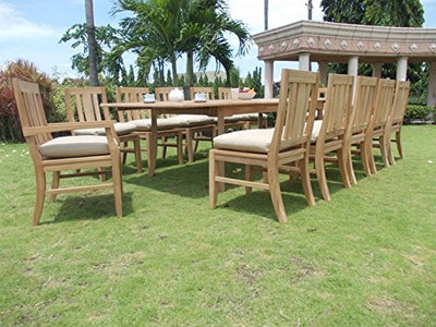 "13 PC A Grade Outdoor Patio Teak Dining Set - 117"" Double Extension Rectangle Table & 12 Osawa Chairs (10 Armless, 2 Arm)"