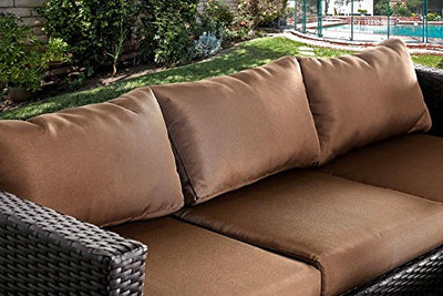 FA Furnishing Portman Wicker Sofa, 2 Chair, 2 Cocktail Tables in Brown Cushion - Outdoor Patio