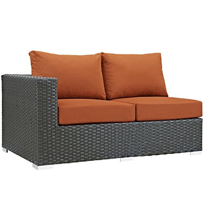 Modern Contemporary Urban Design Outdoor Patio Balcony Eleven PCS Sectional Sofa Set, Orange, Rattan