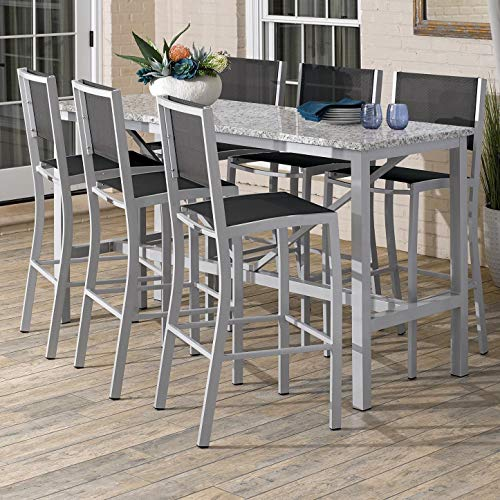 Oxford Garden Travira 7-Piece 72-in x 30-in Lite-Core Ash Bar Table & Sling Bar Chair Set - Black Sling