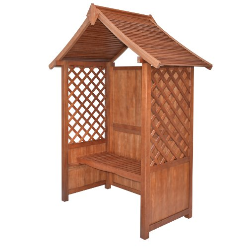 Bosmere PERCANT Rowlinson Canterbury Hardwood Arbor with Solid Back, Lattice Sides and Bench