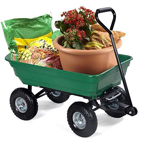 Gyj&gyt Heavy-Duty Green Garden carts and Dump Trucks, Polyester Garden Dump Trucks, Steel Frames and 10 inches. Pneumatic tire Solid tire Load Capacity 125L,solidsmall