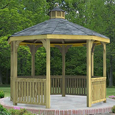 Fifthroom Markets Garden Gazebo Octagon 12 Foot - Treated Pine Outdoor Furniture Backyard Seating Wooden Exterior Structure Home and Garden G1212