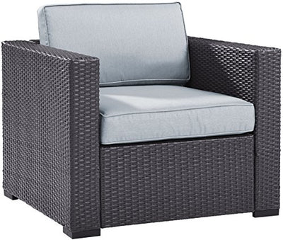 Crosley Furniture KO70107BR-MI Biscayne 6-Piece Outdoor Wicker Seating Set, Brown with Mist Cushions