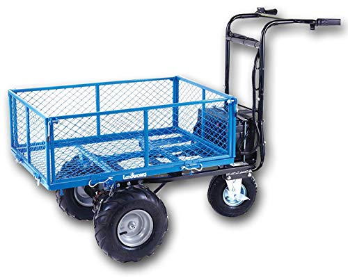 Landworks Utility Cart Hand Truck Power Wagon Super Duty Electric 48V DC 500W AGM Battery 500LBS & 1000LBS+ Load/Hauling Cap Wheelbarrow Barrel Dump w/All Purpose Modular Cargo Bed