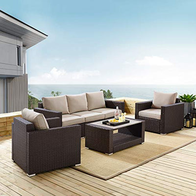 Pulaski DS-D320-K1 Modern Weave Set Outdoor Furniture, Rustic Brown/Beige