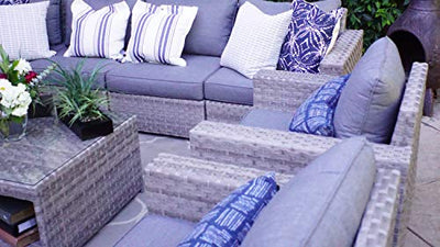SunHaven Resin Wicker Outdoor Patio Furniture Set - 12 Piece Conversation Sectional Premium All Weather Gray Rattan Wicker, Aluminum Frame with Deluxe Fade Resistant Olefin Cushion (Kensington 12 Pcs)