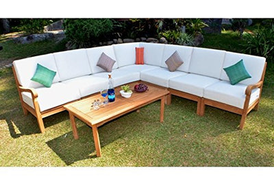 New Luxurious 8 Piece Teak Sectional Sofa Set - 2 Lounge Arm Chair (Left & Right), 4 Armless Chair, 1 Corner Piece & 1 Coffee Table - Furniture only- Napa COLLECTION #WHSSSNP