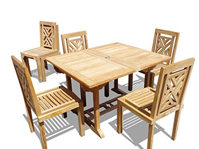 "Windsor Premium Grade A Teak 66""x 39"" Rectangular Dining Extension Table w/6 Chippendale Stacking Chairs.can seat 8, 5 Yr Wrty, World's Best Outdoor Furniture, Teak Lasts a Lifetime!"