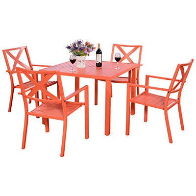 UBRTools Patio Orange Steel Outdoor Square Dining Table Furniture Garden With 4 Chairs