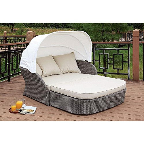 FA Furnishing Princedale Wicker Patio Outdoor Canopy Daybed and Large Ottoman in Beige Cushion