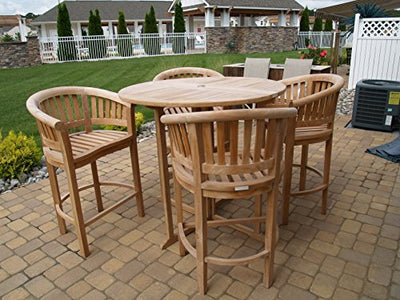 "Windsor's Premium Grade A Teak Nassau 47"" Round Dropleaf Bar Table w/4 Kensington Curved Arm Bar Chairs,5 Year Wrty, World's Best Outdoor Furniture! Teak Lasts A Lifetime! Assembled"