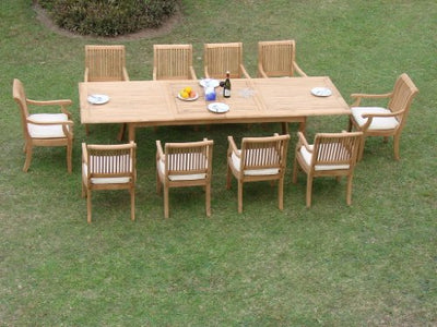 "New 11 Pc Luxurious Grade-A Teak Dining Set - 117"" Double Extension Rectangle Table 10 Giva Arm / Captain Chairs #WHDSGVt"