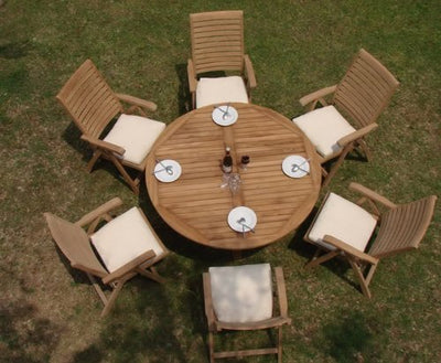 "7 Pc Grade-A Teak Wood Dining Set - 60"" Round Table And 6 Ashley Reclining Arm Chairs #WFDSAS5"