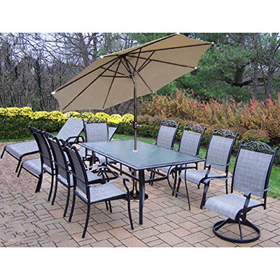 Oakland Living Corporation 14 Pc Set, 6 Chairs, 2 Swivels, 2 lounges, End Table, Umbrella, Stand Black