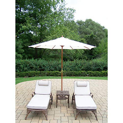 Oakland Living Corporation Dakota Lounge Set with 2 Cushioned & Wheeled Chaise Lounges, Side Table and White Wooden Umbrella with Stand