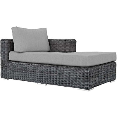 Modway EEI-1900-GRY-GRY-SET Summon 5 Piece Outdoor Patio Sunbrella Sectional Set in Canvas Gray, Seating for Four with Coffee Table,