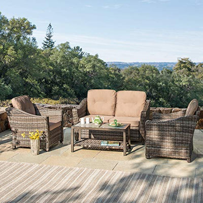 Supernova 4-Piece Wicker Patio Furniture Set with Cushions (Brown)