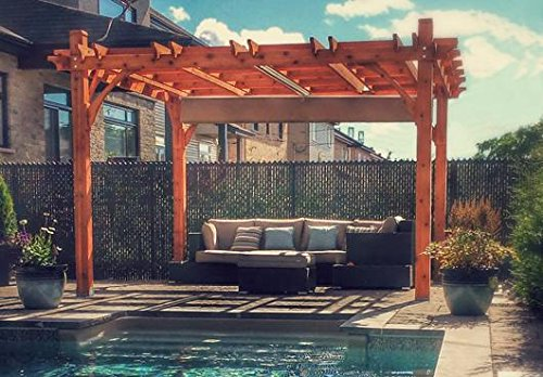12x12 Breeze Cedar Pergola - With Retractable Canopy