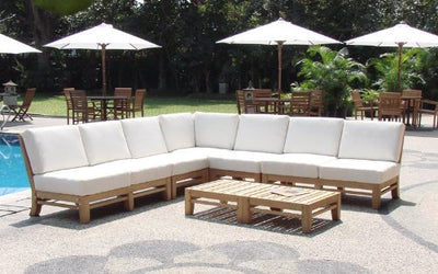 New Luxurious 7 Piece Teak Sectional Sofa Set - 2 Love Seats, 2 Lounge Chair, 1 Corner Pc, 1 Ottoman & 1 Side Table - Furniture only -- Delmar collection #WHSSRM1