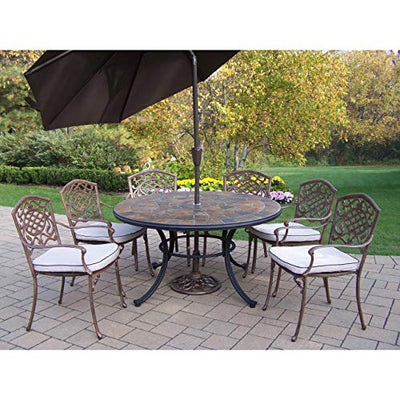 Oakland Living Corporation 9 Pc Dining Set with Stone Top Table, 6 Chairs, Umbrella and Stand