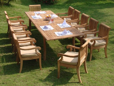 "Giva 13 Pc Luxurious Grade-A Teak Dining Set - 117"" Double Extension Rectangle Table 12 Arm / Captain Chairs #TSDSGVn"