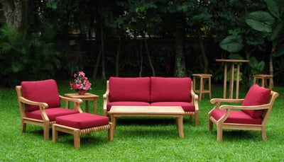 WholesaleTeak Giva Luxurious 6 Piece Teak Sofa Set with Sunbrella Fabric Canvas Jockey Red Cushions - Sofa, 2 Lounge Chairs, 1 Ottoman, 1 Rectangle Coffee Table and 1 End Table