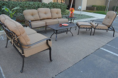 Elizabeth Outdoor Patio 6pc Seating Group Cast Aluminum Dark Bronze (Sesame)