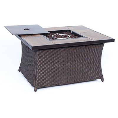 Hanover HUDSQ4PCFP-WG 4 Piece Hudson Square Lounge Set with a Fire Pit Table