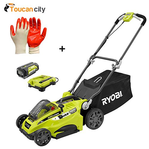 "Toucan City Ryobi 16"" 40-Volt Lithium-Ion Cordless Battery Walk Behind Push Lawn Mower with 4.0 Ah Battery and Charger Included RY40140 Nitrile Dip Gloves"